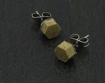 Little Gold Metallic hexagon stud earrings with surgical steel posts