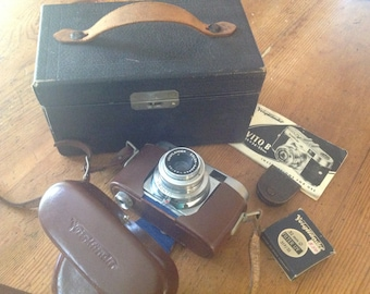 Voigtlander Vito B 24x36 35mm German Film Camera, Leather Case, Hard Case, and Filters,