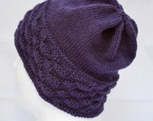 RESERVED - Slouchy Wool Hat, Purple Gender Neutral Hat, Slouchy Beanie, Warm Winter Hat, Knit Hat, Adult Watch Cap, Plum, Eggplant,