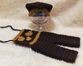 Newborn boy overalls with matching hat.  Newborn boy. Newborn photo prop