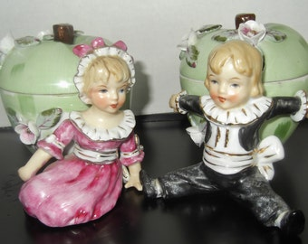 Antique Figural Tobacco Humidor Jar Set Of two Jars In Victorian Style