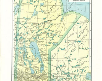 1924 Funk and Wagnalls Vintage Map Pages (Manitoba map on one side and Saskatchewan map on the other side)