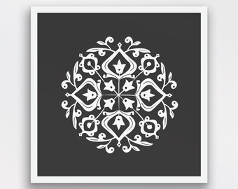Persian Motif Print, Folk Art, Charcoal Black and White Decor, Persian Motif Wall Art, Folk Art wall decor, Printable Art