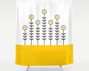 36 colours, Spring Shoots Shower Curtain, Scandinavian style, Crocus yellow geometric shower curtains, flower pattern bathroom decor