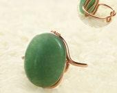 Jade stone adjustable ring  Free US Shipping handmade anni designs