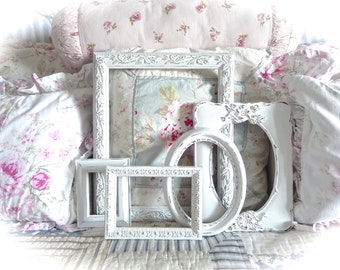 Shabby Vintage Winter White Distressed Ornate Picture Photo Gallery Set of 5 Frames Cottage Chic Cream READY TO SHIP