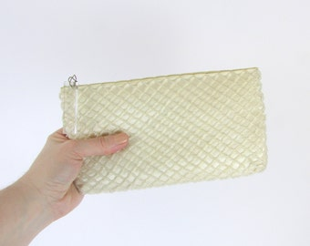 Vintage 1950s Beaded Cream Evening Purse - Off White Wedding Clutch Bag
