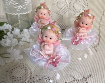 Baptism Favors, Baby Girl Baptism Favors, First Communion Favors, Angel Favors, Pink Angel Favors, Center-Piece Favors.