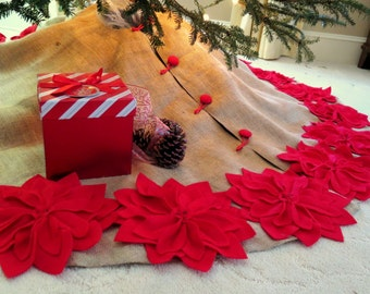"65"" Christmas Tree Skirt in a Natural Burlap with Red Hand cut Poinsettas around the perimeter. ""FREE SHIPPING"""