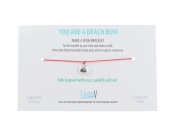 BEACH BUM >> silver sand dollar charm << pure silk wish bracelet >> ocean nautical surf california beach florida salt >> Humane Society