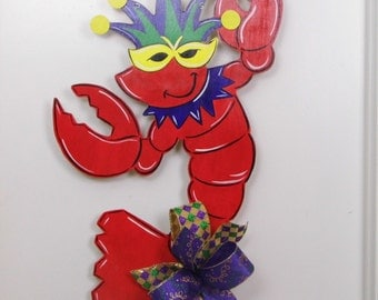 Mardi Gras Craw Fish Door Hanger, Craw Fish Door Hanger, Mardi Gras Door Hanger, Lobster Door Hanger, Mardi Gras Lobster, Moon Pie
