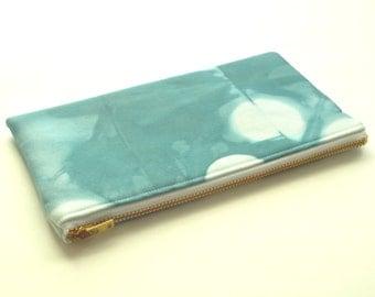 Shibori Pouch - Turquoise Clutch - Sea Glass
