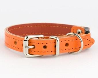 Orange Italian Leather Cat Collar
