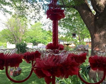 Ruby Red Candle/Solar Chandelier (free shipping)