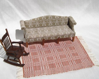 Dollhouse Rug Miniature Hand Woven Rug Susan Ross Coverlet Brown and Orange Miniature Rug 12th Scale Dollhouse Rug Woven Dollhouse Coverlet