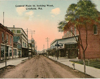 Vintage Postcard, Crisfield, Maryland, Central Main Street Looking West, ca 1910