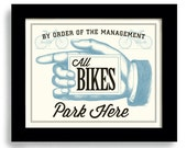 Parking Sign Bike Shop Cyclist Gift Bicycle Art Motorcycle Gift Bicycle Shop Motorcyclist Art Racing Team Cycling Art Loves Bikes Bar Art