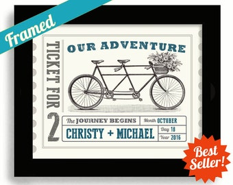 Personalized Wedding Gift Tandem Bicycle Built for Two Wedding Ticket Unique Engagement Gift Our Adventure Decor Unique Wedding Gift Couples