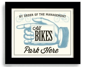 Parking Sign Bike Shop Cyclist Gift Bicycle Art Motorcycle Gift Bicycle Shop Motorcyclist Art Racing Team Cycling Art Loves Bikes Bar Art