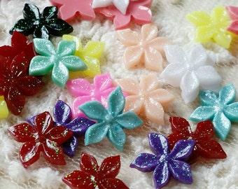 9 mm Assorted Colour Sakura Blossom Resin Flower Cabochons /Nail Art (.ng)