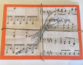 A Note For You - Musical Note Cards - Inside Blank