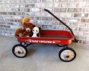 Vintage Red Wagon, Greyhound wagon, Hamilton wagon,  little red wagon, toy collectors, vintage toys,  vintage pull toys,