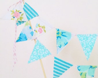 """Vintage Fabric Cake Bunting- """"Come to the Seaside with Me"""""""