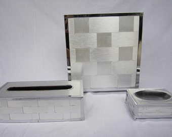 Vintage MCM woven aluminum/chrome 3 piece bathroom set