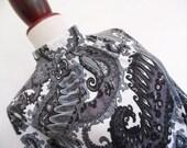 MONOCHROME PAISLEY .  M . Beautiful Midi Dress Matching Cable Belt 70s