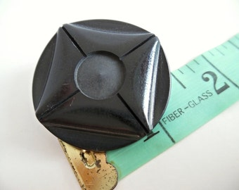 1 x Art Deco Carved Bakelite Coat Button Large Shank Dramatic Vintage 20s 30s Geometric Black