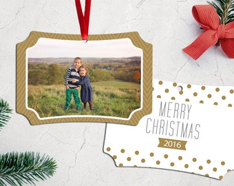 Personalized Photo Christmas Tree Ornament - Double Sided with Ribbon - Golden Dots