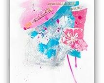 Art Collage, Original Artwork, Modern Collage Art, Pink Art, Art to frame, mixed media, wall decor, 11x14 inch by Heroux