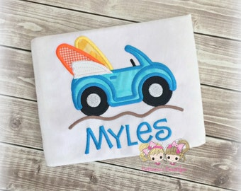 Boys surf buggy shirt - summer themed shirt for boys - summer car shirt - car with surfboards - embroidered beach shirt for boys -