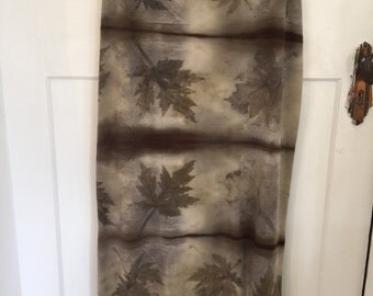 Merino wool long tube skirt Naturally dyed with leaf and water Size Large