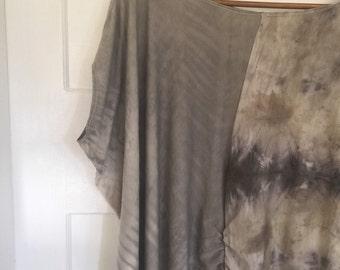 Shibori rouged tunic bush dyed eco dyed leaf printed ONE SIZE grey mauve