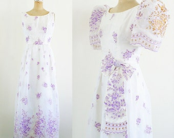 Vintage 1930s Gown 30s Dress Puff Sleeve Dress Purple Floral Dress White Floral Dress 30s Puff Sleeve Hollywood Dress Medium