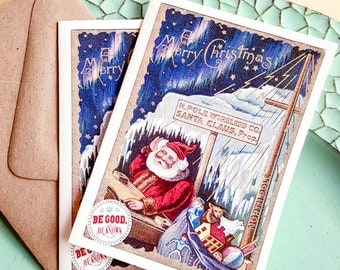Santa is Listening - Funny Christmas Card - single greeting - A2- Wireless Holiday - cell phone humor - Santa Claus Wireless Co - North Pole