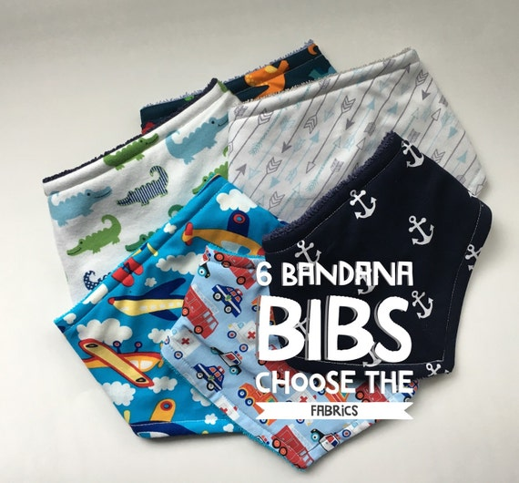 Bibs, Bandana Bibs, baby, toddler, Pick Six Boys save by buying Six at a time Keep baby dry in style