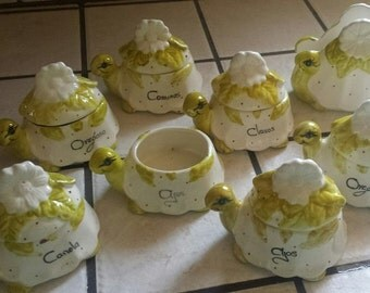 8 Ceramic Glazed Turtles (spice, napkin holders )