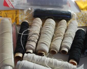 14 Spools Vintage  Elastic Sewing Threads  Black , White Color