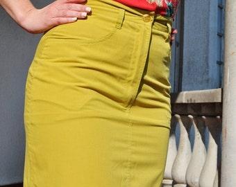 ON SALE Vintage Mustard High Waist Pencil Skirt