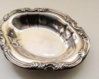 Vintage Gorham Bon Bon Dish, Silver Plate Tray, Monogram Silver, Scroll Pattern