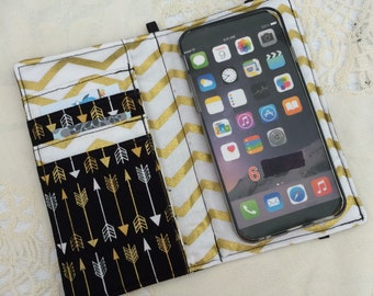 iPhone wallet, iPhone case- Black and gold arrows wallet with removable gel case