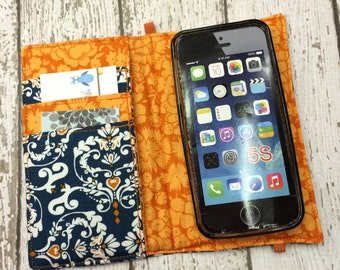 iPhone wallet case- blue and orange damask wallet with removable gel case