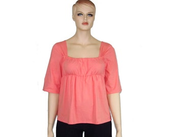 Plus Size Tunic - Womens Organic Cotton/Bamboo Jersey Modern Peasant Top-READY TO SHIP- Peach Echo Color Size 14/16 xl