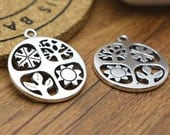 Flower Charms -10pcs Antique Silver Round Tree, Flower, Sun Charm Pendants 24mm M303-4