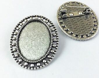 5pcs Antique Silver Pin Brooch Cabochon Base Setting Charm Pendants 18x25mm M407-6