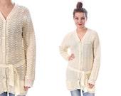 Vintage Longline CARDIGAN Sweater . 90s Oversized Popcorn Knit Slouchy Belted  Button Up Cream White Oversize . Medium
