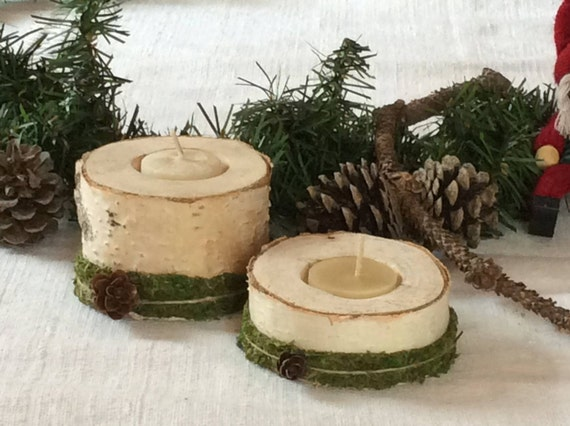 Christmas Decoration - Birch Wood Candle Holders - Rustic Candle Holders - Woodland Wedding Party