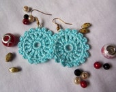 Turquoise Crochet Earrings. Handmade Crochet Earrings.